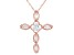 White Cubic Zirconia 18K Rose Gold Over Sterling Silver Cross Pendant With Chain 1.03ctw