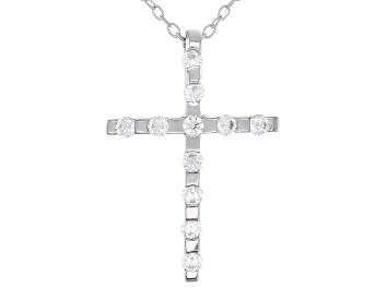 Picture of White Cubic Zirconia Rhodium Over Sterling Silver Cross Pendant With Chain 0.46ctw