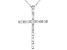 White Cubic Zirconia Rhodium Over Sterling Silver Cross Pendant With Chain 0.46ctw