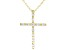 White Cubic Zirconia 18K Yellow Gold Over Sterling Silver Cross Pendant With Chain 0.46ctw