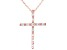 White Cubic Zirconia 18K Rose Gold Over Sterling Silver Cross Pendant With Chain 0.46ctw
