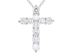 White Cubic Zirconia Rhodium Over Sterling Silver Cross Pendant With Chain 3.49ctw