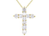 White Cubic Zirconia 18K Yellow Gold Over Sterling Silver Cross Pendant With Chain 3.49ctw