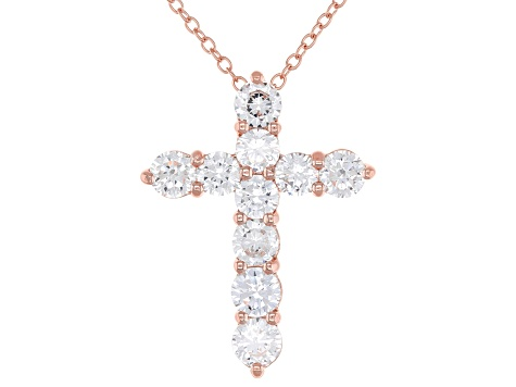 White Cubic Zirconia 18K Rose Gold Over Sterling Silver Cross Pendant With Chain 3.49ctw