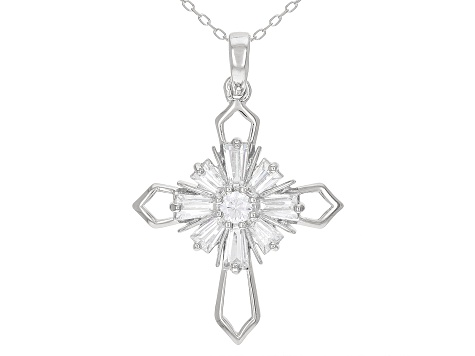White Cubic Zirconia Rhodium Over Sterling Silver Cross Pendant With Chain 1.66ctw