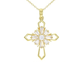 White Cubic Zirconia 18K Yellow Gold Over Sterling Silver Cross Pendant With Chain 1.66ctw