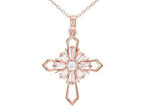White Cubic Zirconia 18K Rose Gold Over Sterling Silver Cross Pendant With Chain 1.66ctw