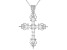 White Cubic Zirconia Rhodium Over Sterling Silver Cross Pendant With Chain 1.16ctw