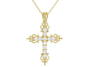 White Cubic Zirconia 18K Yellow Gold Over Sterling Silver Pendant With Chain 1.16ctw