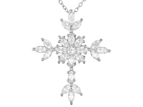 White Cubic Zirconia Rhodium Over Sterling Silver Cross Pendant With Chain 2.76ctw