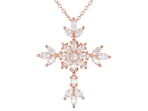 White Cubic Zirconia 18K Rose Gold Over Sterling Silver Cross Pendant With Chain 2.76ctw