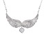 White Cubic Zirconia Rhodium Over Sterling Silver Angel Wing Necklace 2.39ctw