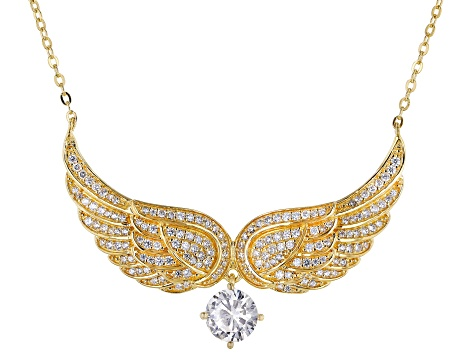White Cubic Zirconia 18K Yellow Gold Over Sterling Silver Angel Wing Necklace 2.39ctw
