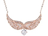White Cubic Zirconia 18K Rose Gold Over Sterling Silver Angel Wing Necklace 2.39ctw