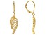 White Cubic Zirconia 18K Yellow Gold Over Sterling Silver Angel Wing Earrings 0.43ctw