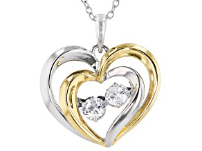White Cubic Zirconia 18k Yellow Gold Over Sterling Silver Heart Pendant With Chain 0.81ctw
