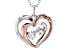 White Cubic Zirconia 18k Rose Gold Over Sterling Silver Heart Pendant With Chain 0.81ctw