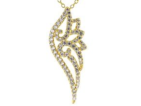 White Cubic Zirconia 18K Yellow Gold Over Sterling Silver Pendant With Chain 1.31ctw