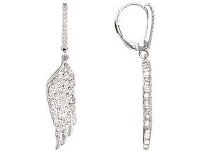White Cubic Zirconia Rhodium Over Sterling Silver Angel Wing Earrings 0.72ctw