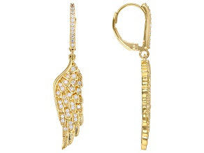 White Cubic Zirconia 18K Yellow Gold Over Sterling Silver Angel Wing Earrings 0.72ctw