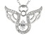 White Cubic Zirconia Rhodium Over Sterling Silver Angel Pendant With Chain 0.53ctw