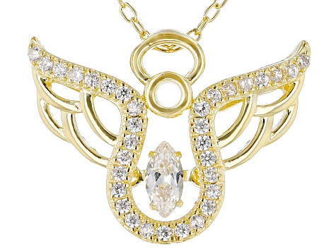White Cubic Zirconia 18K Yellow Gold Over Sterling Silver Angel Pendant With Chain 0.53ctw