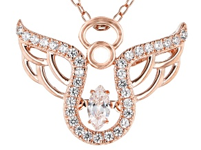 White Cubic Zirconia 18K Rose Gold Over Sterling Silver Angel Pendant With Chain 0.53ctw