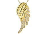White Cubic Zirconia 18k Yellow Gold Over Sterling Silver Angel Wing Pendant With Chain 0.53ctw