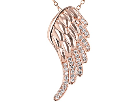White Cubic Zirconia 18k Rose Gold Over Sterling Silver Angel Wing Pendant With Chain 0.53ctw