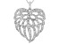White Cubic Zirconia Rhodium Over Sterling Silver Angel Wing Heart Pendant With Chain 3.35ctw
