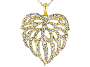 White Cubic Zirconia 18K Yellow Gold Over Silver Angel Wing Heart Pendant With Chain 3.35ctw