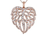 White Cubic Zirconia 18K Rose Gold Over Silver Angel Wing Heart Pendant With Chain 3.35ctw