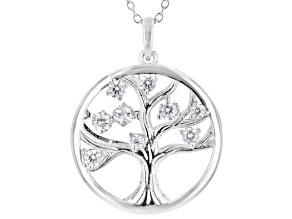 White Cubic Zirconia Rhodium Over Sterling Silver Tree of Life Pendant With Chain 1.08