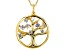 White Cubic Zirconia 18k Yellow Gold Over Sterling Silver Tree of Life Pendant With Chain 1.08ctw