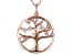White Cubic Zirconia 18k Rose Gold Over Sterling Silver Tree of Life Pendant With Chain 1.08ctw