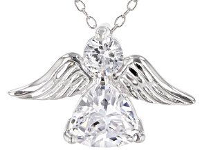 White Cubic Zirconia Rhodium Over Sterling Silver Angel Pendant With Chain 2.42ctw