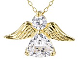 White Cubic Zirconia 18K Yellow Gold Over Sterling Silver Angel Pendant With Chain 2.42ctw