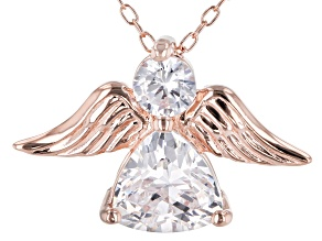 White Cubic Zirconia 18K Rose Gold Over Sterling Silver Angel Pendant With Chain 2.42ctw
