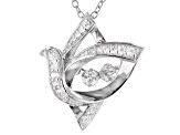 White Cubic Zirconia Rhodium Over Sterling Silver Bird Pendant With Chain 0.64ctw
