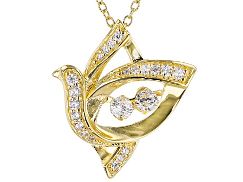 White Cubic Zirconia 18k Yellow Gold Over Sterling Silver Bird Pendant With Chain 0.64ctw