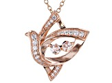 White Cubic Zirconia 18k Rose Gold Over Sterling Silver Bird Pendant With Chain 0.64ctw