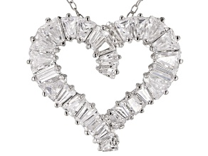White Cubic Zirconia Rhodium Over Sterling Silver Heart Pendant With Chain 3.24ctw