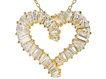 Picture of White Cubic Zirconia 18K Yellow Gold Over Sterling Silver Heart Pendant With Chain 3.24ctw