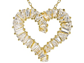 White Cubic Zirconia 18K Yellow Gold Over Sterling Silver Heart Pendant With Chain 3.24ctw