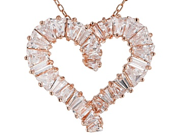 Picture of White Cubic Zirconia 18K Rose Gold Over Sterling Silver Heart Pendant With Chain 3.24ctw