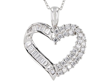 Picture of White Cubic Zirconia Rhodium Over Sterling Silver Heart Pendant With Chain 1.90ctw