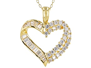White Cubic Zirconia 18K Yellow Gold Over Sterling Silver Heart Pendant With Chain 1.90ctw