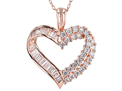White Cubic Zirconia 18K Rose Gold Over Sterling Silver Heart Pendant With Chain 1.90ctw