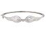 White Cubic Zirconia Rhodium Over Sterling Silver Angel Wing Heart Bracelet 0.18ctw