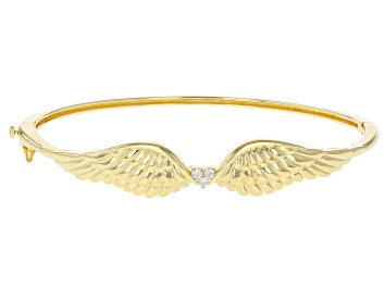 Picture of White Cubic Zirconia 18K Yellow Gold Over Sterling Silver Angel Wing Heart Bracelet 0.18ctw